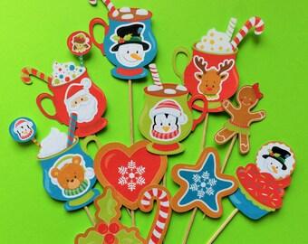 Christmas cocoa cupcake toppers, Christmas cocoa toppers, snowman cupcake toppers, santa toppers, Rudolph cupcake toppers, Christmas bear