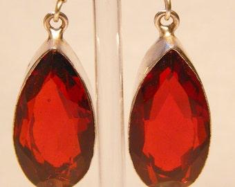 2 Inch Sterling Silver Garnet Stone Earrings