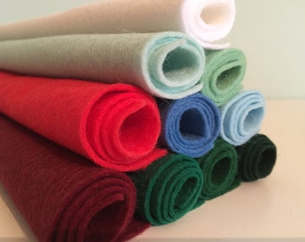 Traditional Christmas Wool Blend Felt Pack (10 pieces per pack) Choice of Pack Sizes