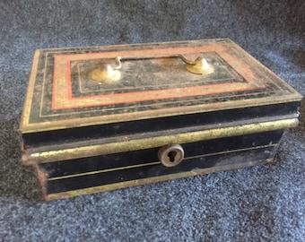 Vintage metal bank box unusual size