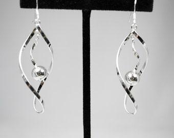 Sterling Silver Drop Earrings Twist Design w/Ball Accent
