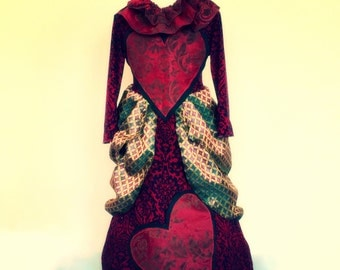 Queen of hearts costume made to order ball gown ruff  red black and gold dress cosplay masquerade