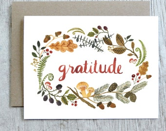 Gratitude Watercolor Card, Woodland Floral Thank You Card by Little Truths Studio