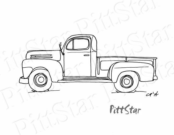 Instant Download Vintage 1940 S Pickup Truck Printable