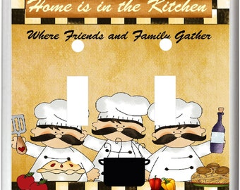 FAT CHEFS Home Is In The Kitchen Light Switch Cover Plate Kitchen Home Decor  Free Shipping in U.S.!!!