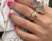 Hart Druzy Stone double Ring, 14k Gold Stone Ring, Stone Ring, Raw Gem Ring