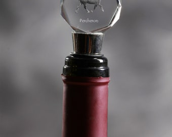Percheron, Crystal Wine Stopper with Horse, Wine and Horse Lovers, High Quality, Exceptional Gift