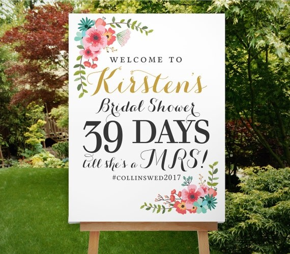 Bridal shower countdown sign bridal shower sign by for Wedding shower signs