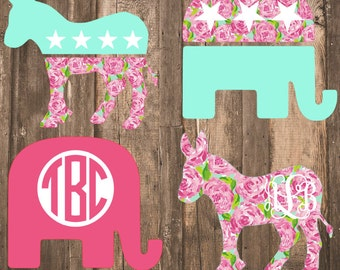 Lilly Pulitzer {inspired} Political Logo Decal | Democratic Decal | Republican Decal