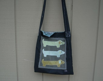3 Mini Dachshunds #1 Medium Tote Fabric Art