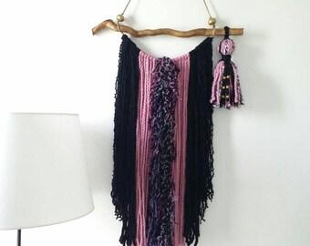 Wall tapestry garland, Bohemian Decor Wall Hanging, Yarn Tapestry, Yarn Mobile, Boho Gypsy decor