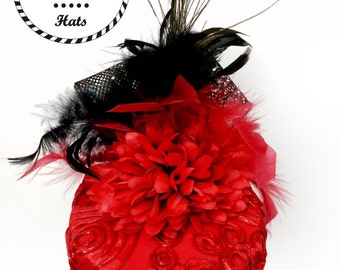 Red Lace Party Hat With Splashes of Black