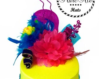 Yellow Party Hat With Colorful Ornaments