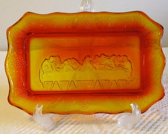 Amberina Glass Bread Plate, Last Supper Bread Tray, Lords Supper Serving Tray, Heavy Glass Serving Tray, Orange Amber Glass Bread Plate