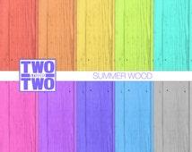 Summer Wood Digital Paper: Orange, Yellow, Green, Pink, Purple, Gray, Aqua and Blue Wood Textures, Wood Backgrounds