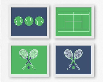 Tennis Prints: Tennis Racquets, Tennis Balls, and Tennis Court in Preppy Blue & Green Printable Wall Art, Sports Nursery, Kid's Room Decor