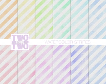 "Watercolor Digital Paper: ""WATERCOLOR STRIPES"" in Pastel Orange, Yellow, Pink, Green, Purple, Aqua, Violet, and Blue"