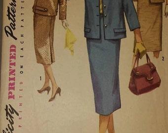Simplicity 1798 A 1950 rockabilly womans suit vintage pattern Sz 14-18