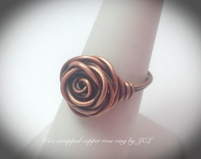 Antiqued copper rose ring