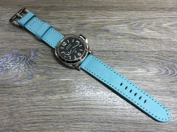 Leather watch strap in pale blue colour for Panerai Watch | 24mm leather watch strap | Leather watch Band | 24mm strap for Luxury watch