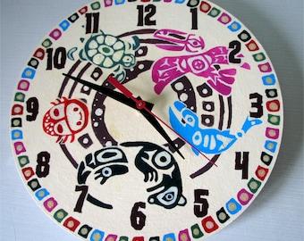 SALE Pacific Northwest Aboriginal Styled Art Wall Clock, Home Decor, decorative wall clocks