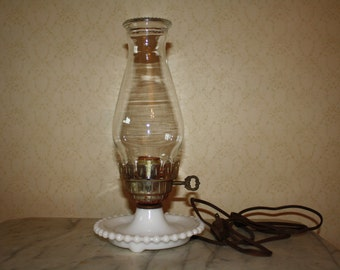 Milk Glass Lamp With Chimney