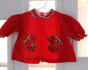 Red mittens shirt 50s Retro kitschy calico Newborn 3 month baby girl vintage