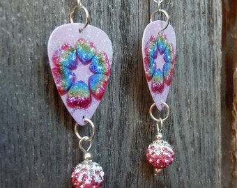 Rainbow Hearts Guitar Pick Earrings with Pink Ombre Rhinestone Beads