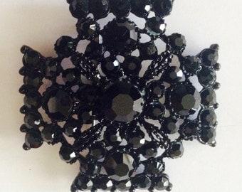 Vintage Black Rhinestone Brooch