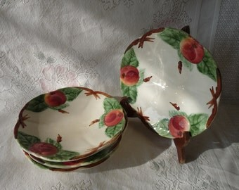 French Choisy le Roi H Boulenger - Set 4 - MAJOLICA FAIENCE Plates with Apples or Peaches... Made in France
