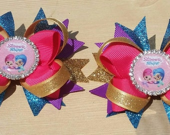 Shimmer & Shine hair bows. Set of 2. Perfect for piggy tails :)