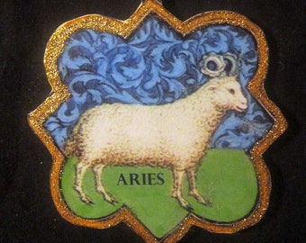 Aries Ram Ornament Handcrafted Wooden Decoration, Astrology Signs, April Birthday, Gift Decoration, Book of Hours Illuminated Manuscript