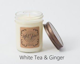 White Tea & Ginger | 8 ounce Soy Candle, Jar Candle