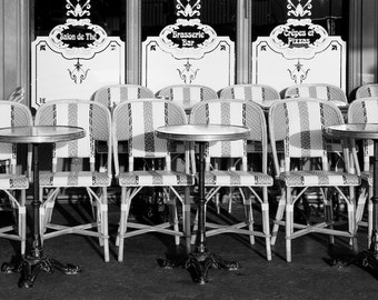 Paris black and white photography, Paris cafe chairs, sidewalk cafe, Paris photography, black and white photo, Paris decor, fine art print