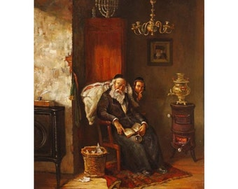Oil on Canvas Original Signed Painting by Boris Dubrov Jewish Father Sleeping Unique Art