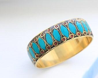 STATEMENT Turquoise Bangle , Wide Brass Bangle, Ethnic cuff bangle,  Tibet Bangle, Cuff, Tribal Bangle, Gypsy, COral and Lapis cuff