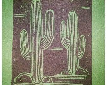 Woodblock Cactus Prints!