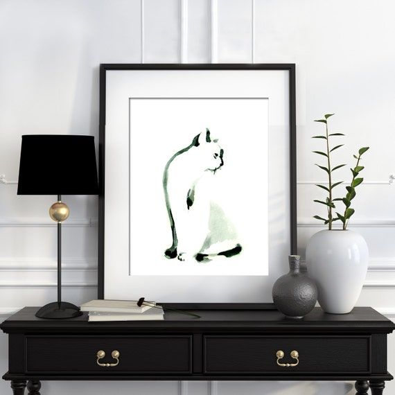 Minimalist Cat Painting Watercolor Print By Canotstopprints