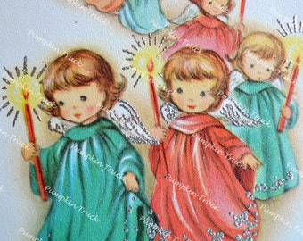 Vintage Christmas Card -  Parade of Angels Holding Lit Candles - Used Glitter