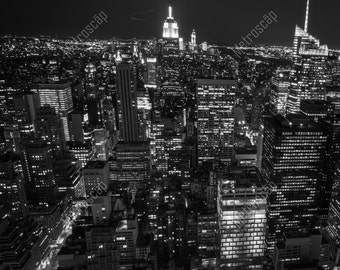 Black and White, New York City Photography, Midtown Skyline from Rockafeller Center, Lower Manhattan, Fine Art Photography, NYC Pictures,