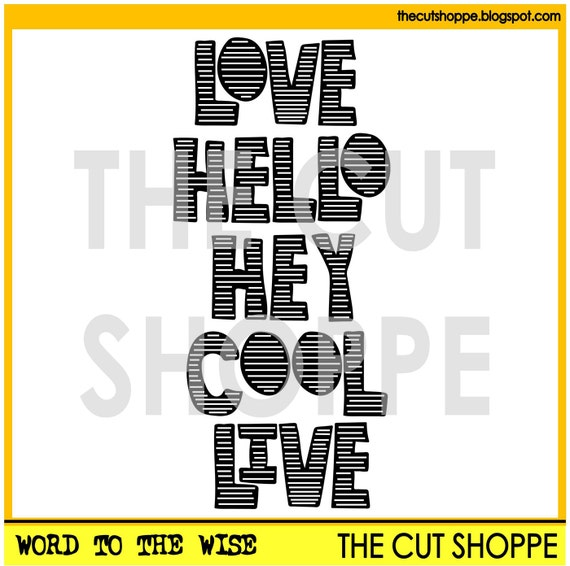 The Word to the Wise cut file includes 5 words that can be used on your scrapbooking and papercrafting projects.