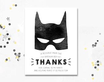 Batman Thank You Card. Batman Birthday Thank You Card. Batman Party. Superhero. Superhero Thank You Card. Printable Card. Motif Visuals