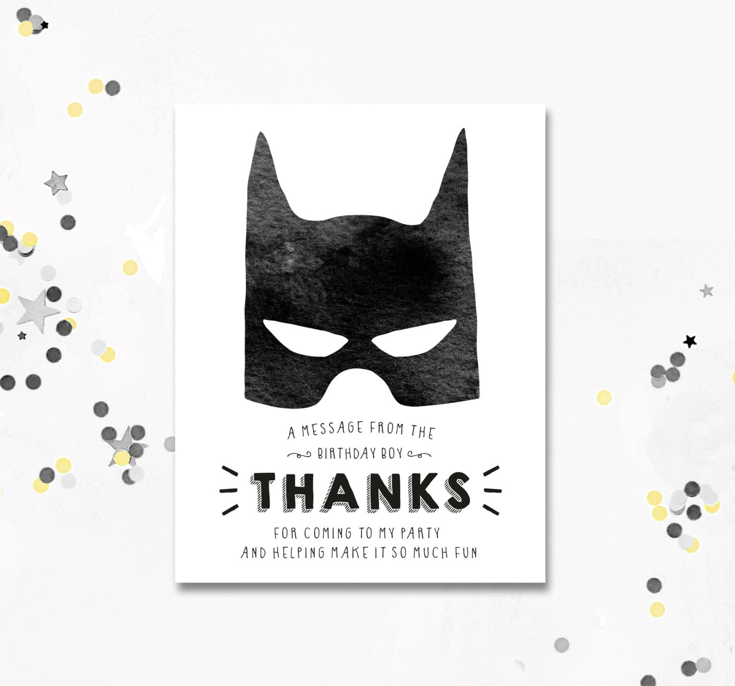 Batman thank you card batman birthday thank you card batman zoom pronofoot35fo Choice Image
