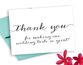 5x7 Thank You Wedding Cards to my baker caterer chef Anna c