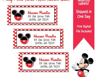 60 Mickey Mouse Themed Return Address Labels - Mickey Themed Return Address