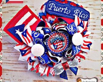 Puerto Rico Boutique Bow, puerto rico, puerto rico hairbow, puerto rico bow