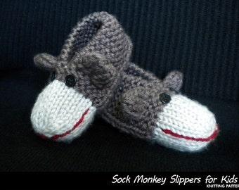 Sock Monkey Slippers for Kids Knitting Pattern
