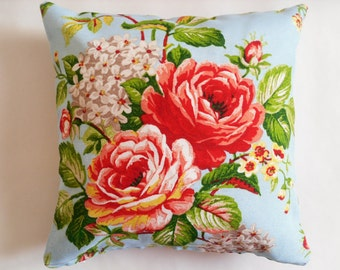 12x12 Vintage Cottage Chic Style Handmade Throw Pillow Sham Case Cover with Red Rose Floral print