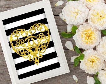 Faux Gold Foil Heart - Art Print