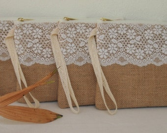 Set of 8 PERSONALIZED bridesmaid clutch/Monogram burlap clutch Bridesmaid Gift /wedding clutch/Express shipping
